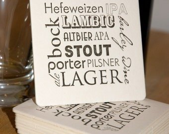 BEER types Coasters (black), Types of BEER modern design (Letterpress printed, 3.5 inches) set of 8, perfect gift for beer lover