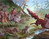 Animal Pixel Series - Foxhunt - 13 x 19 print
