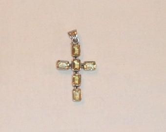 Sterling Silver Semi-Precious Stone Cross Pendant