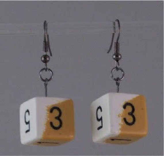 Two tone white and yellow d6 earrings