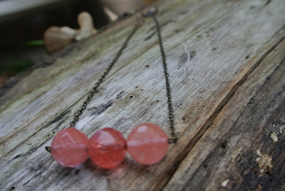 Cherry Rose Quartz Pendant Necklace