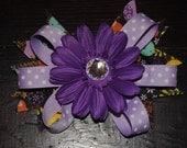 Purple daisy flower layered hair bow