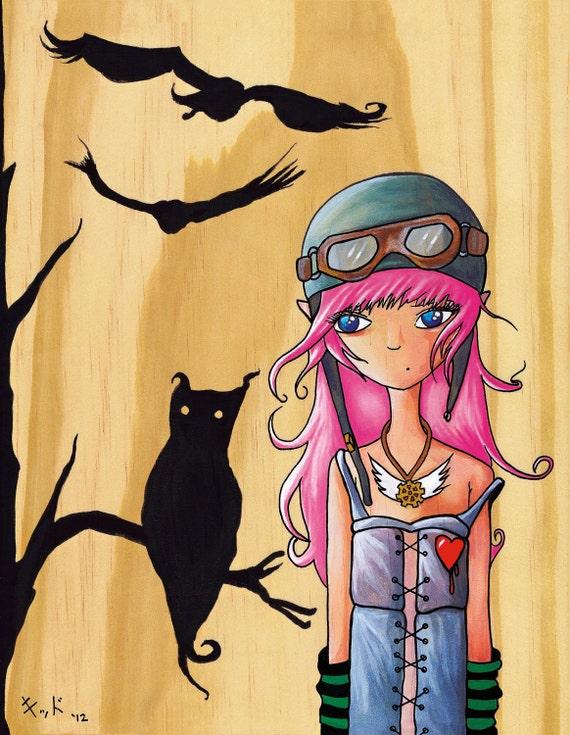 "8 1/2"" x 11"" print- Aviators (Owl Girl)"
