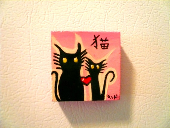 """CATS- 2"""" x 2"""" Hand-painted Tile MAGNET"""