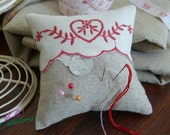 30% OFF - Vintage Heart Motif Cotton Fabric in Linen Pincushion