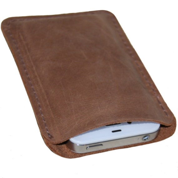 Distressed Leather iPhone Case Brown