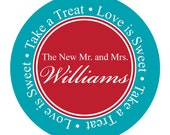 Round Wedding Sticker, Label, Thank You, Party Address Label, Party Favor, Candy Buffet Label