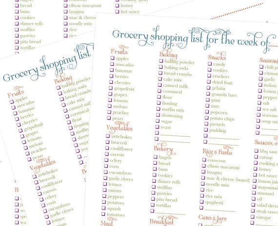 Printable Grocery List, Meal Plan, Recipe Card Shopping Kit - Printable Shopping LIst PDF - Binder, Planner, Organizer
