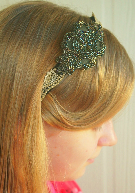 Ornately Beaded Deep Green Motif and Taupe Lace Headband