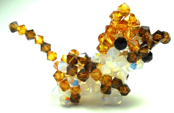 Calico Cat Figure Swarovski Crystals