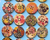 20 Painted Wood Buttons Extra Large Floral Designs BUT167