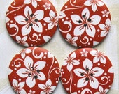 4 Wood Buttons Extra Large Floral Design 40mm - BUT105