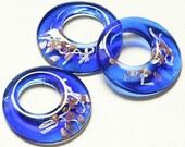 SALE Foil Art Glass Donut Pendant Beautiful Blue - LW16