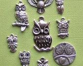 Owl Charm Collection Antique  Silver Tone - 9 Different Charms - COL092