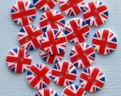 15 UK Flag Buttons British Union Jack Pattern BUT78
