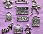 Shopping Charm Collection Antique  Silver Tone 10 Different Charms - COL80