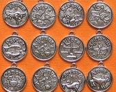 Zodiac Charms Antique  Silver Tone Set of 12 Double Sided - Silver Tone