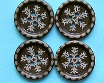 6 Wooden Buttons Walnut Color with Etched Snowflake Pattern - BUT151B