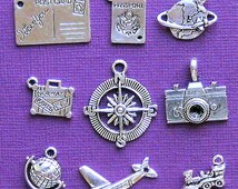 Travel Charm Collection Antique  Silver Tone 9 Different Charms - COL061