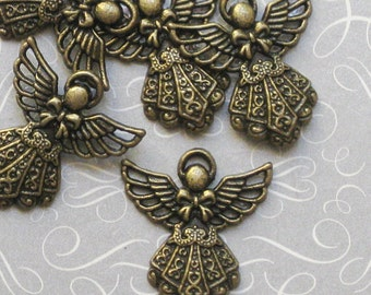 6 Angel Charms Antique Bronze Tone - BC002