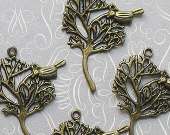 4 Bird in Tree Charms Antique Bronze Tone - BC074