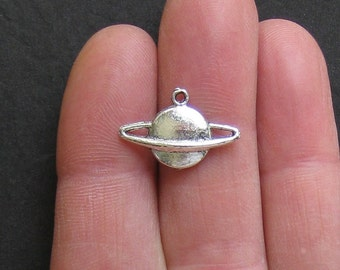10 Planet Charms Antique  Silver Tone Saturn with Rings - SC378