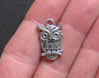 8 Owl Charms Antique  Silver Tone - SC351