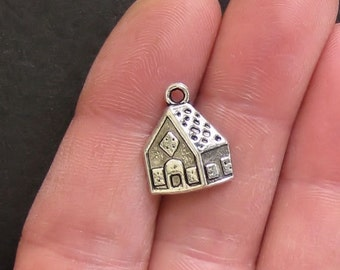 6 Gingerbread House Charms Antique  Silver Tone Simply Adorable XC20