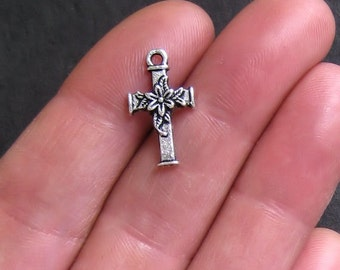 10 Cross Charms Antique  Silver Tone Dainty Floral - SC166