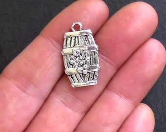5 Wine Barrel Charms Antique  Silver Tone 2 Sided - SC579