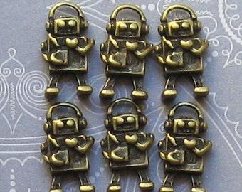 5 Robot Charms Antique Bronze Tone 3D - BC066