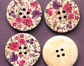 6 Large Wood Buttons Retro Floral Design 30mm BUT44