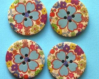 6 Large Wood Buttons Retro Floral Design 30mm BUT59