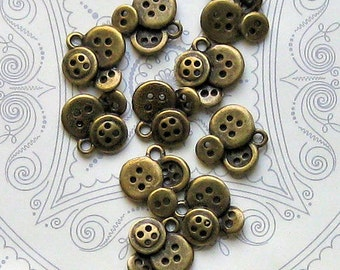 8 Button Charms Antique Bronze Tone - BC084