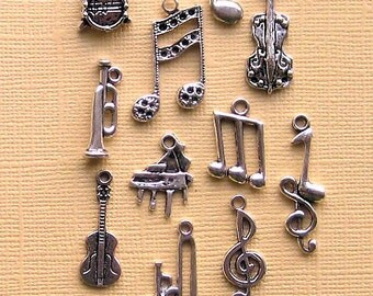 Music Charm Collection Antique  Silver Tone 11 Different Charms - COL013