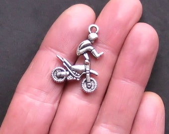2 BMX Motorcycle Charms Antique  Silver Tone Motocross Dirtbike - SC927