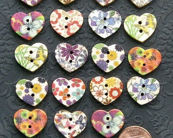 20 Painted Wood Buttons Floral Design Assortment 15mm Heart Shaped BUT154