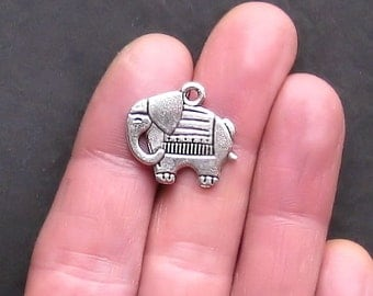 5 Elephant Charms Antique  Silver Tone Two Sided - SC923