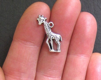8 Giraffe Charms Antique  Silver Tone - SC213