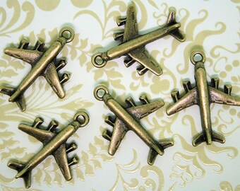 8 Airplane Charms  Antique Bronze Tone 3D with Great Detail - BC164