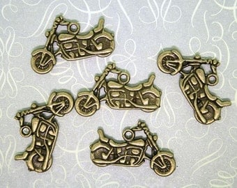 5 Motorcycle Charms Antique Bronze Tone 2 Sided - BC183