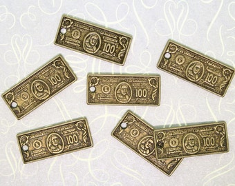 8 Dollar Bill Charms Antique Bronze Tone Simply Adorable - BC192