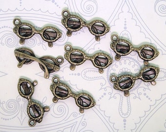 10 Eyeglass Charms Antique Bronze Tone 2 Sided Great Details - BC221
