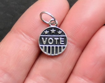 BULK 25 Vote Charms Antique  Silver Tone Perfect for Election Year 2012 - SC576