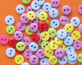 BULK 100 Buttons Bright and Colorful - Ideal for Sewing and Crafts BUT134