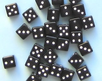 25 Dice Beads Viva Las Vegas in Black and White K77