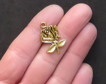 6 Flower Charms Antique  Gold Tone Absolutely Beautiful - GC034