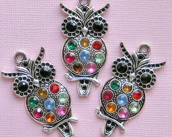 Owl Charm Antique  Silver Tone with CZ Inserts  - SC1134