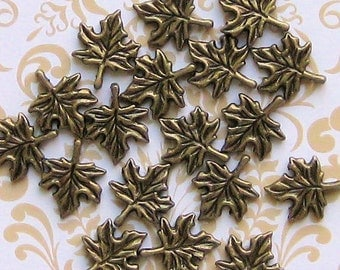 10 Maple Leaf Charms Antique Bronze Tone Simply Beautiful - BC220