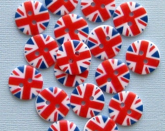 15 UK Flag Buttons British Union Jack Pattern BUT78